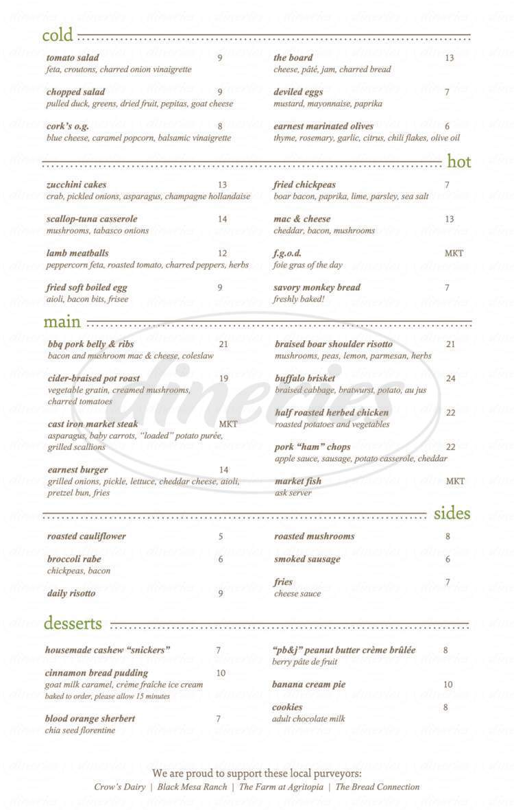 menu for Cork Restaurant