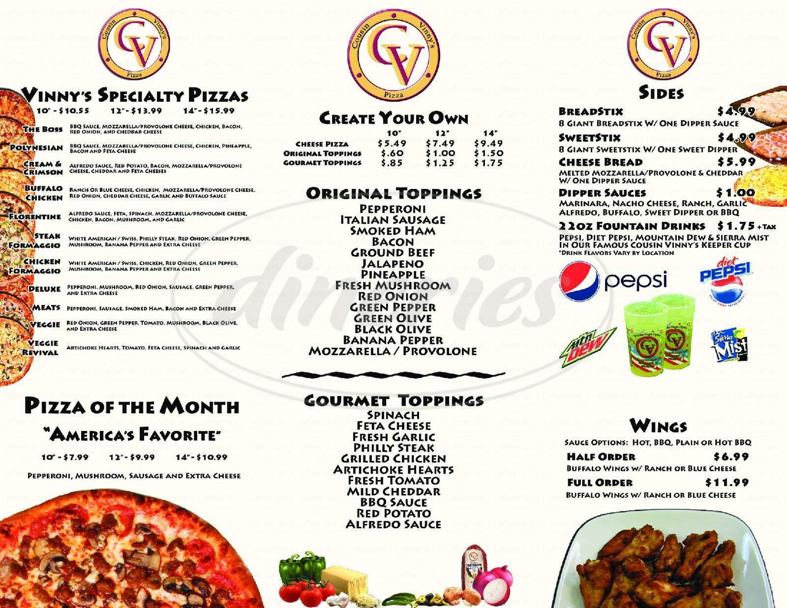 menu for Cousin Vinny