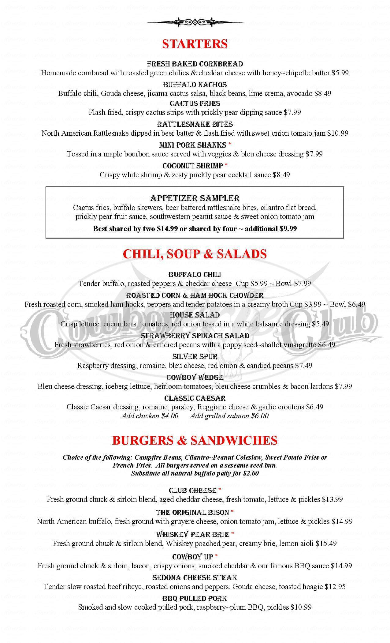 menu for Cowboy Club Grille & Spirits