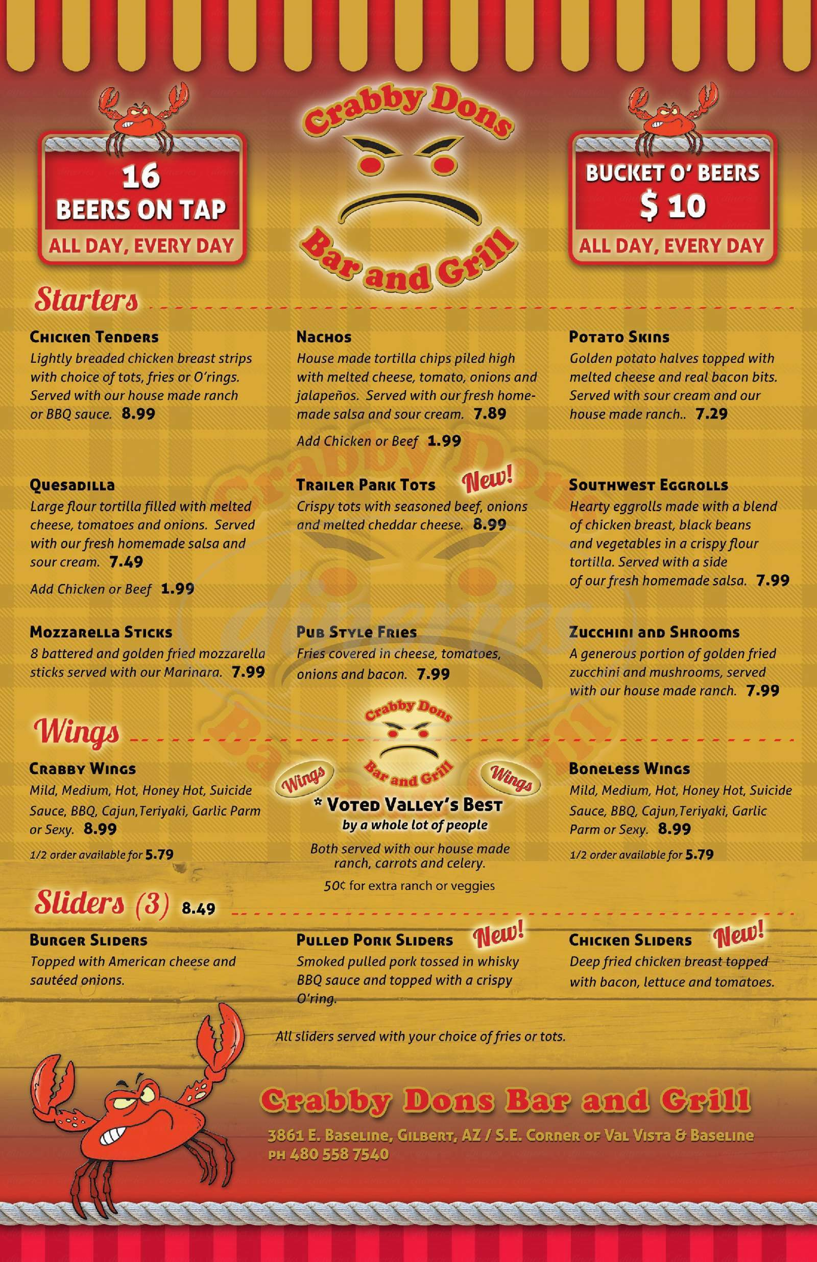 menu for Crabby Don's Bar & Grill