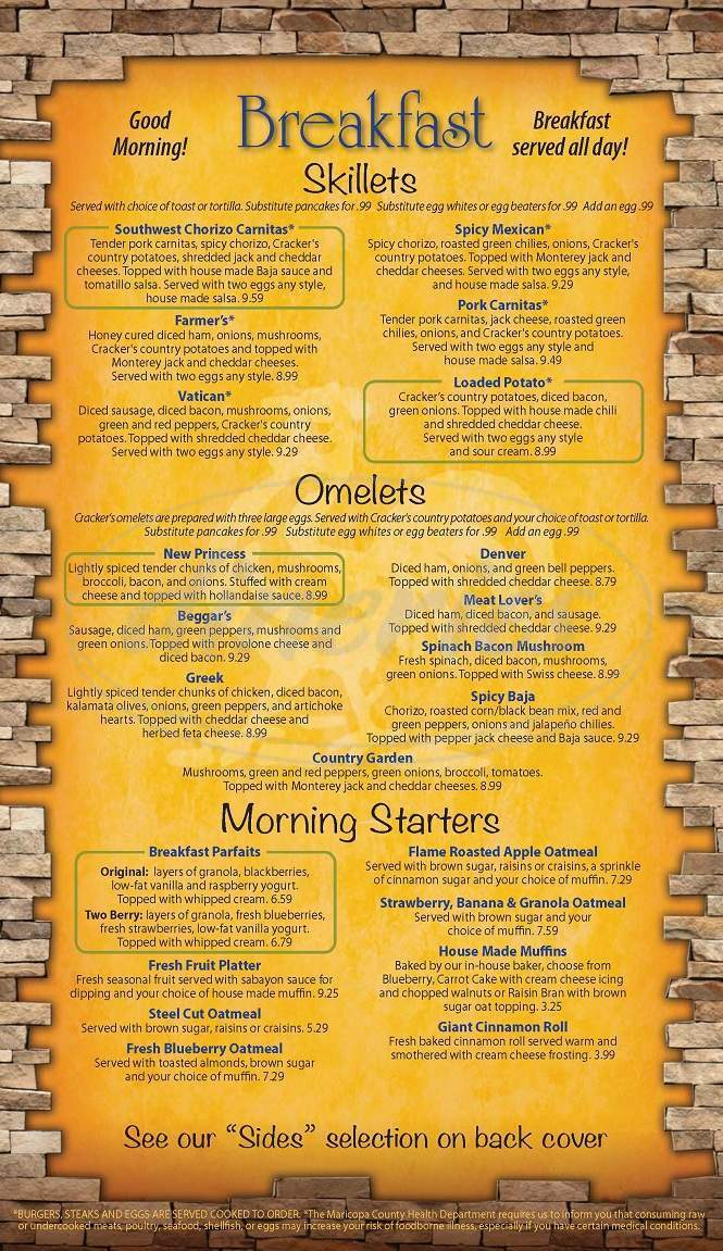 menu for Crackers & Co Cafe