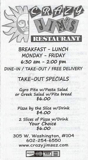 menu for Crazy Jim's