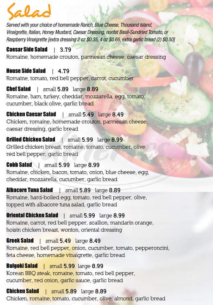 menu for Croque Famous Sandwiches