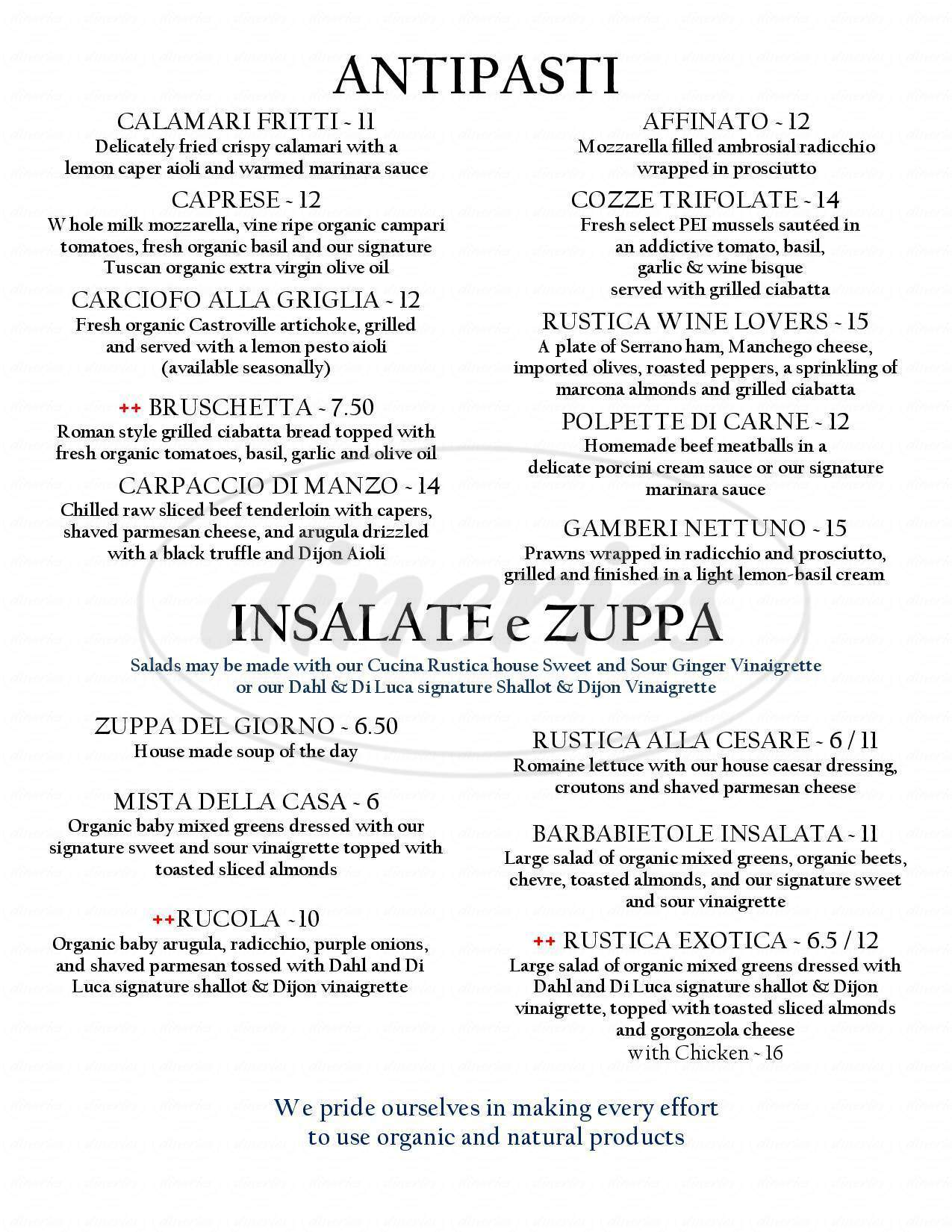 menu for Cucina Rustica