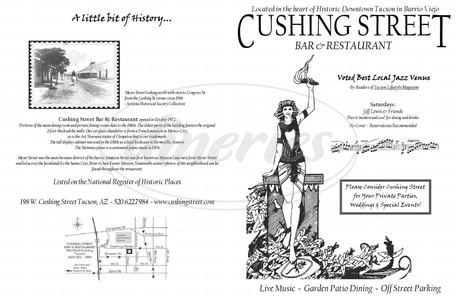 menu for Cushing Street
