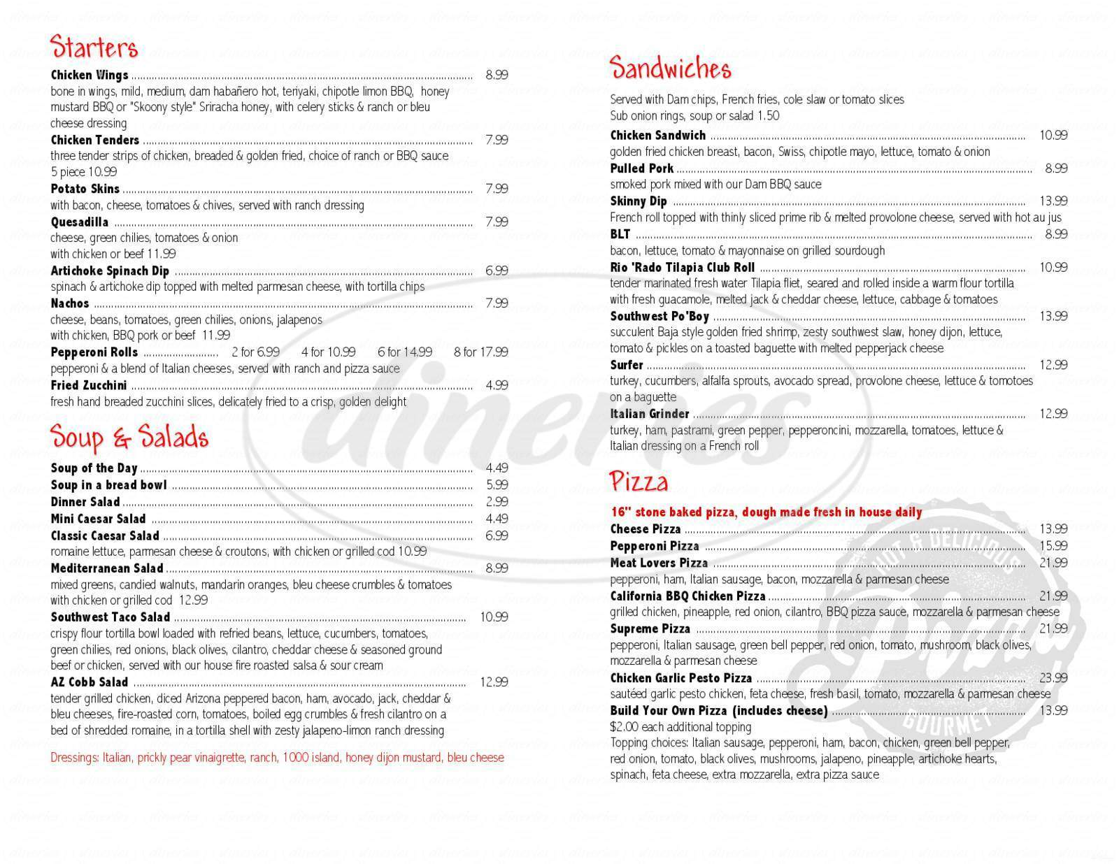 menu for Dam Bar & Grille
