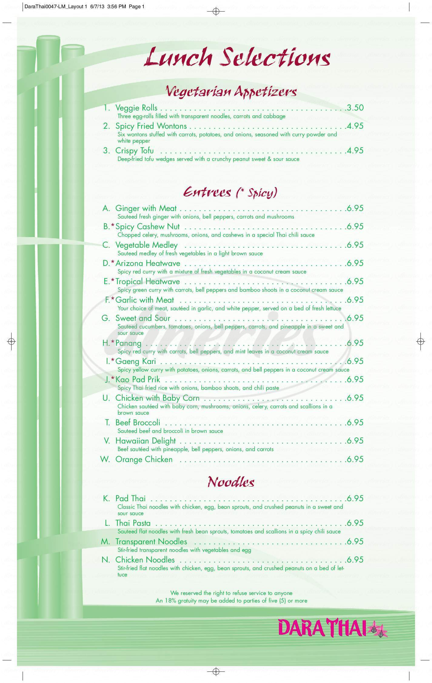 menu for Dara Thai Restaurant