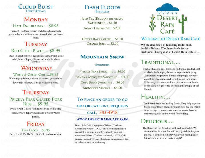 menu for Desert Rain Cafe