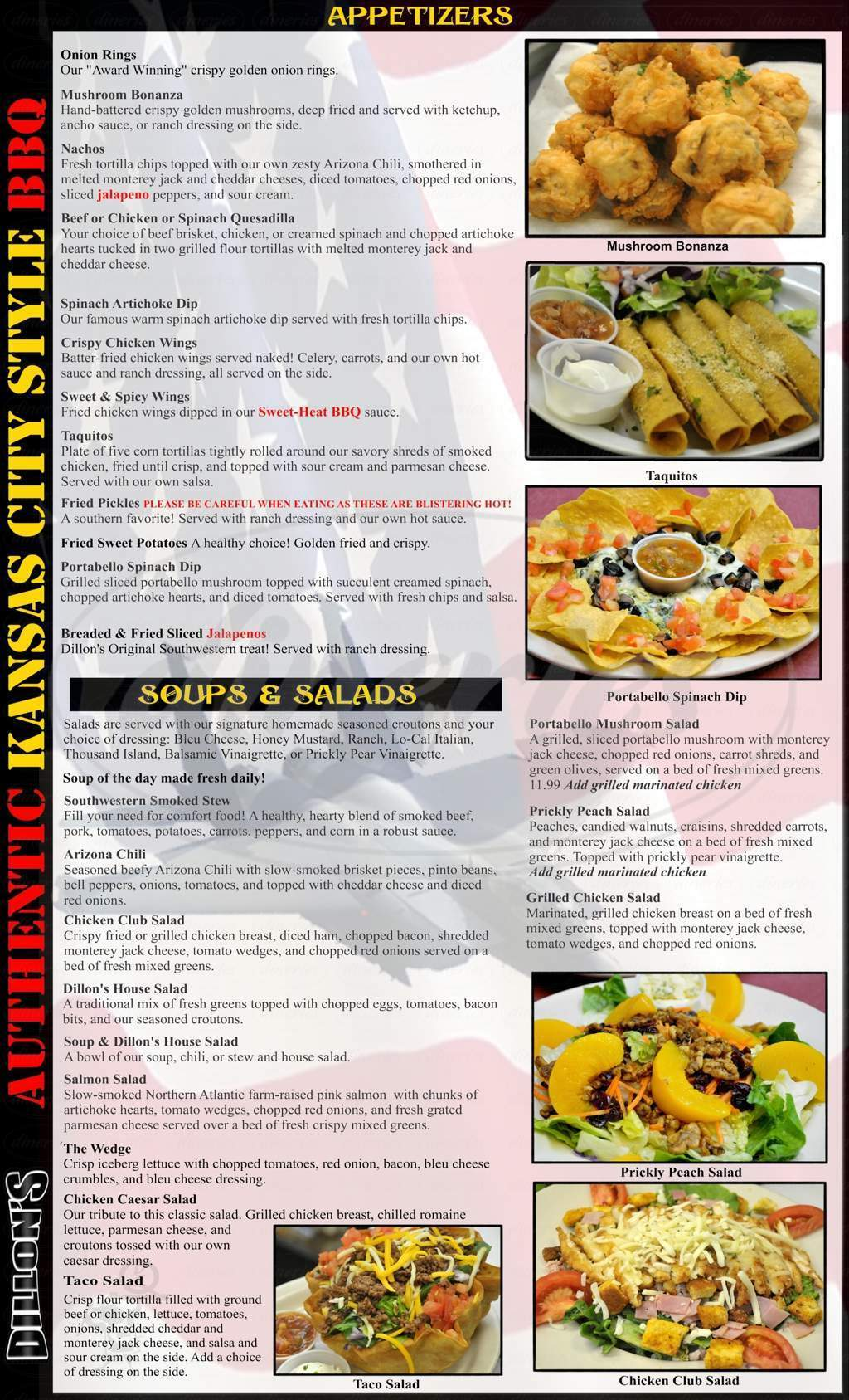 menu for Dillon's Thunderbird