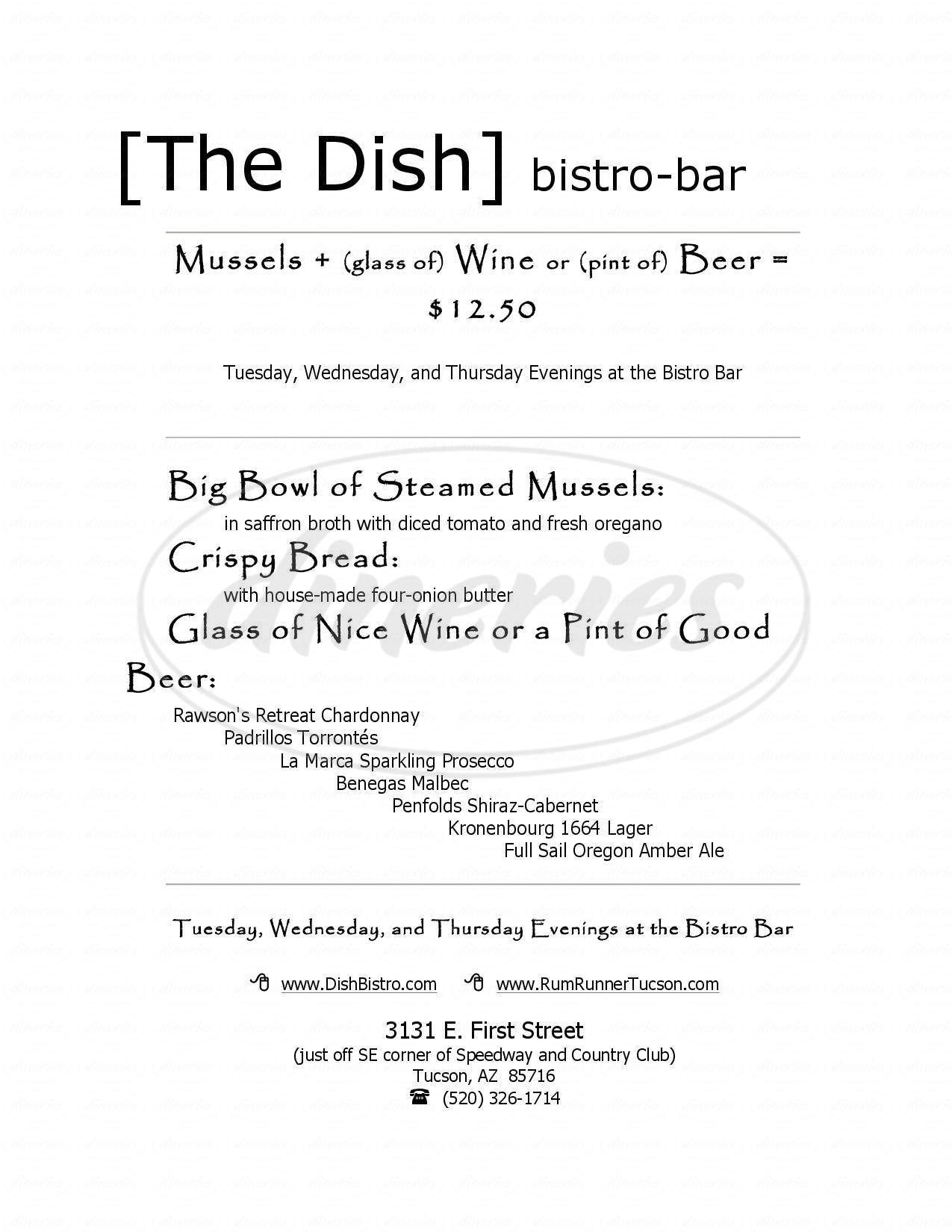 menu for The Dish Bistro