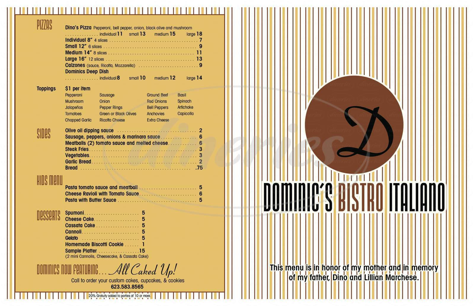 menu for Dominic's Bistro Italiano