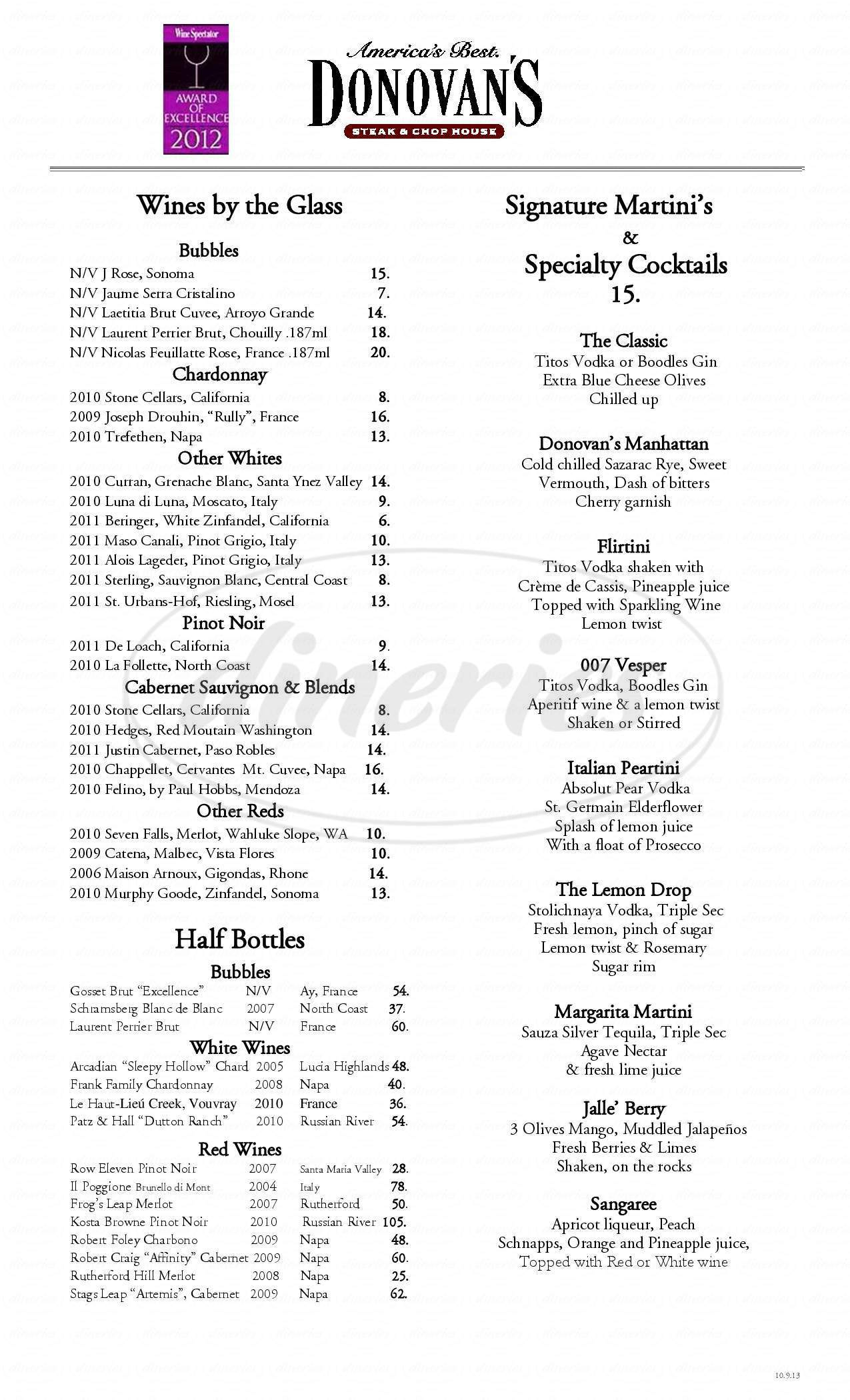 menu for Donovan's Steak & Chop House