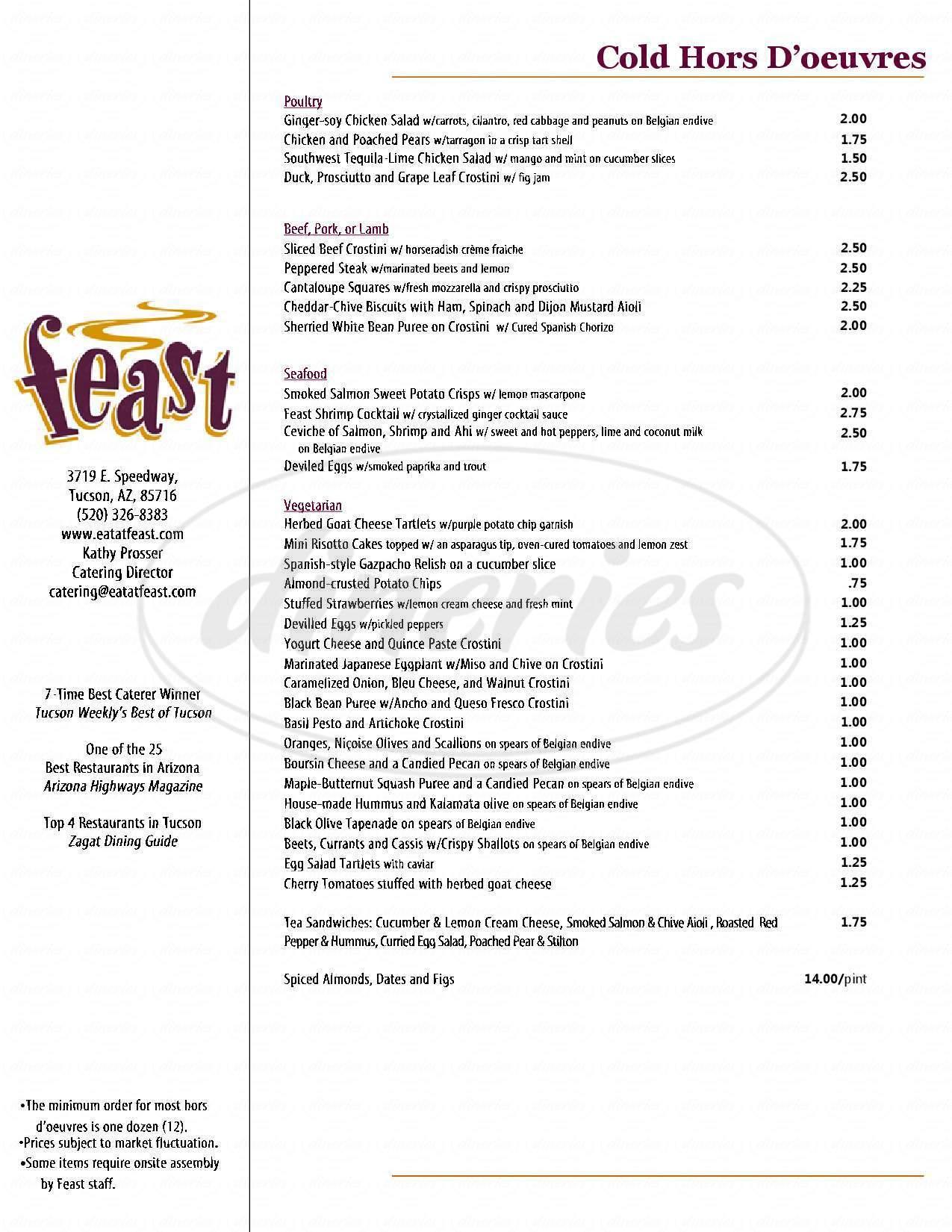 menu for Feast