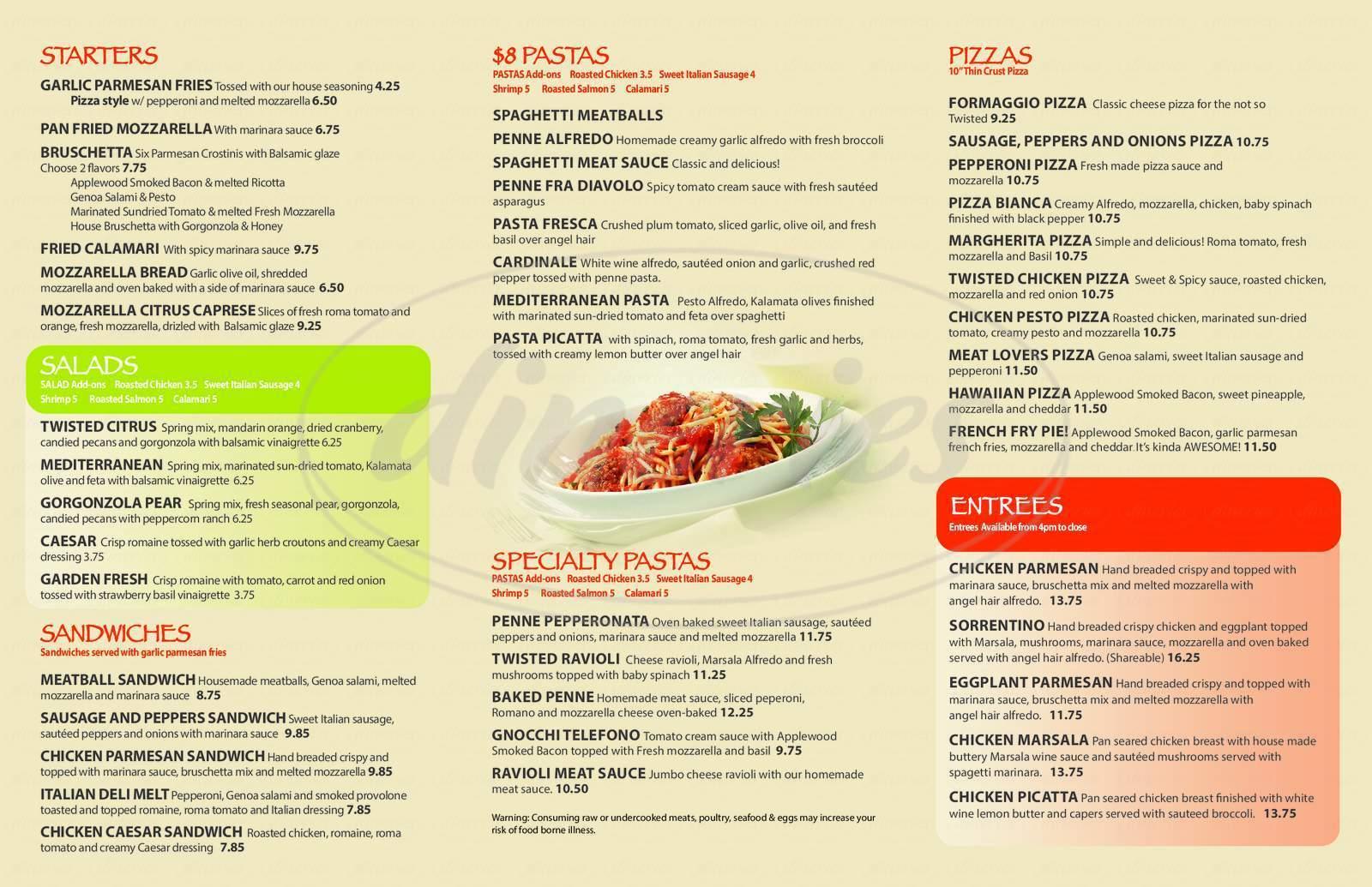 menu for Twisted Italian