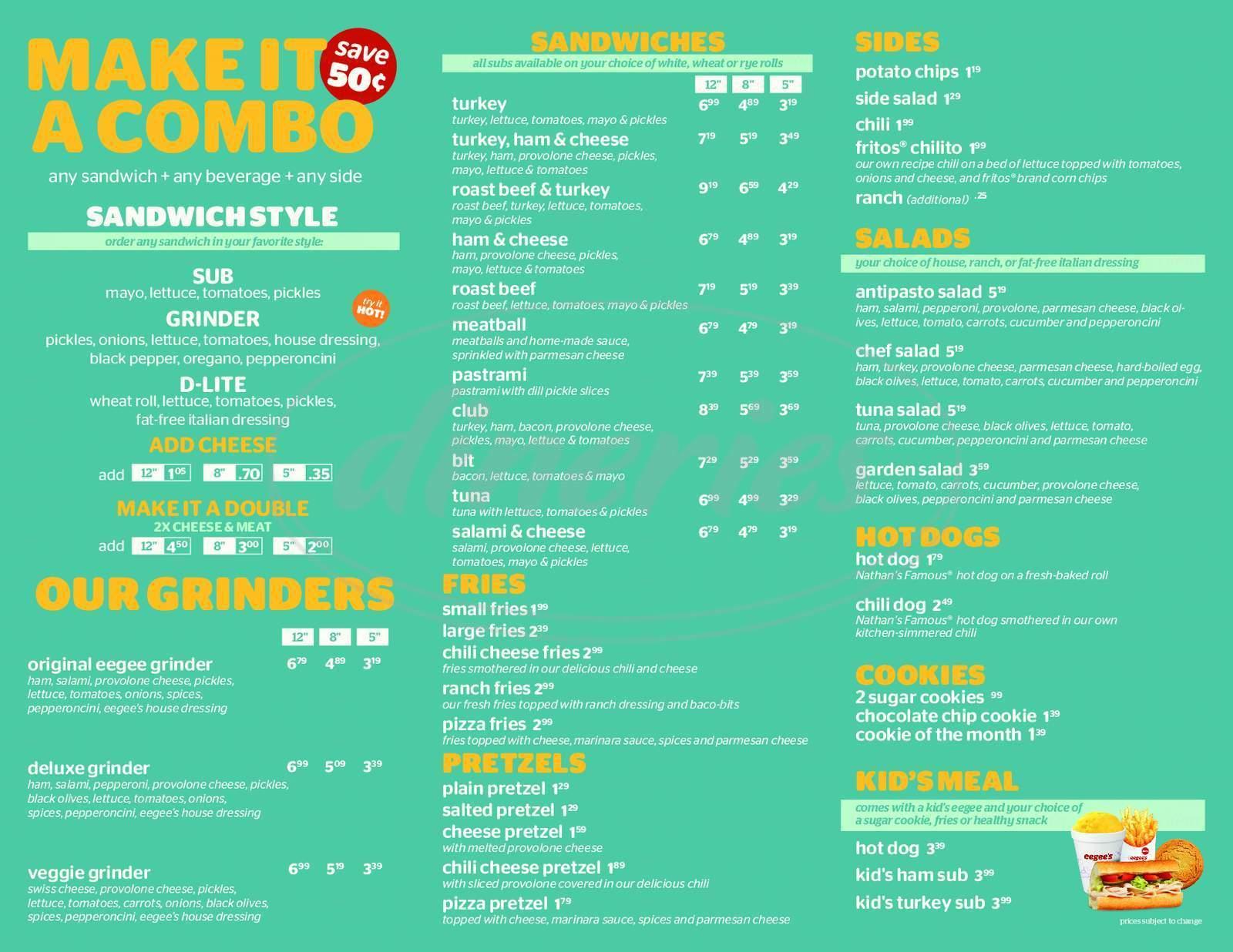 menu for Eegee's