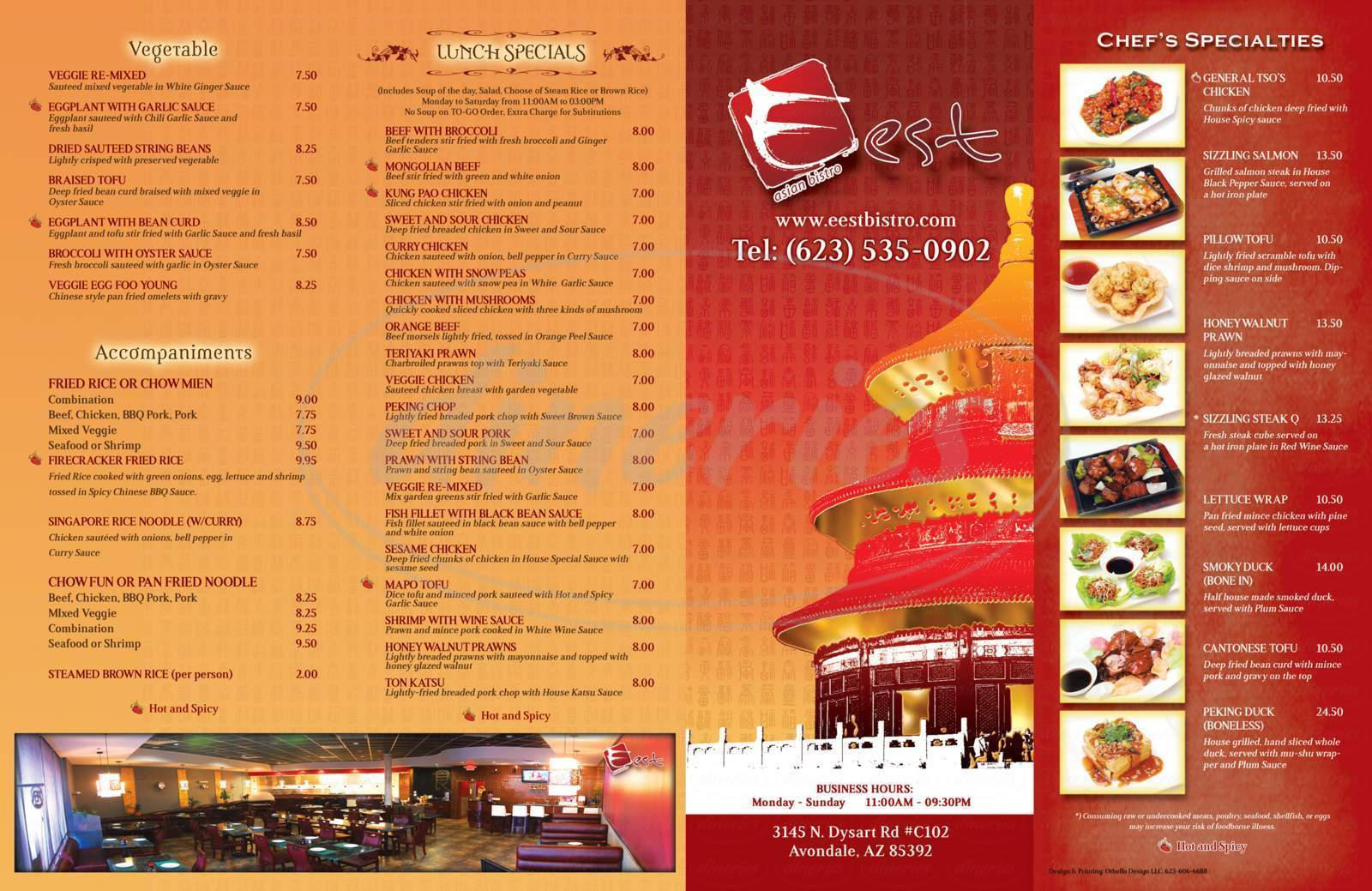 menu for Eest Asian Bistro