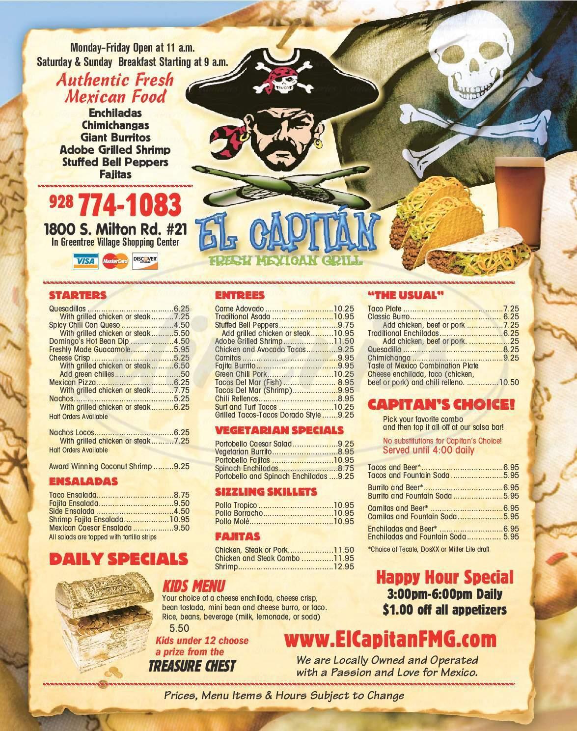 menu for El Capitan Fresh Mexican Grill