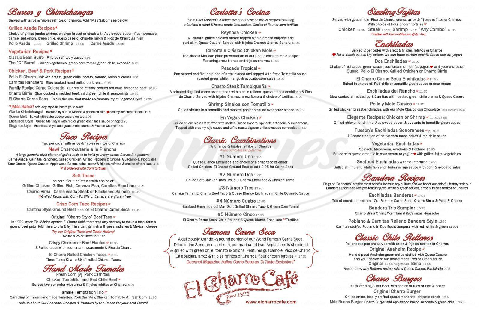 menu for El Charro Cafe