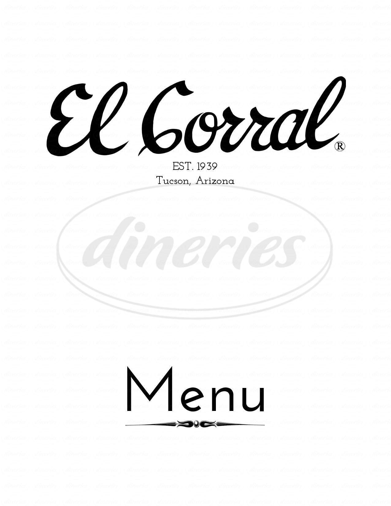 menu for El Corral