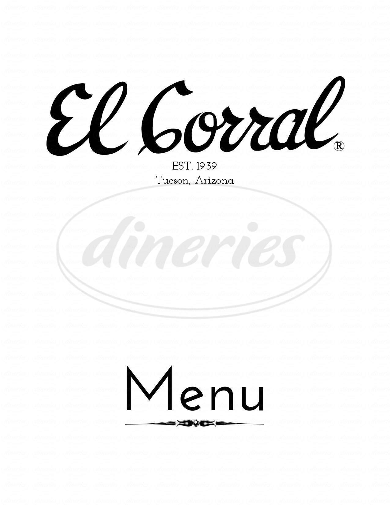 menu for El Corral