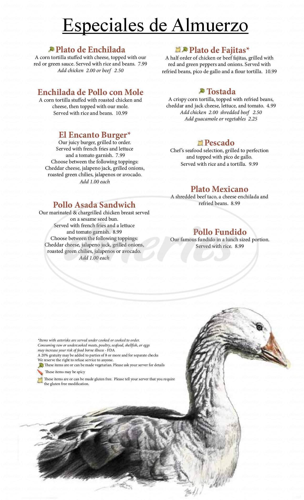 menu for El Encanto de la Fuente