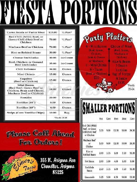 menu for Elmer's Tacos