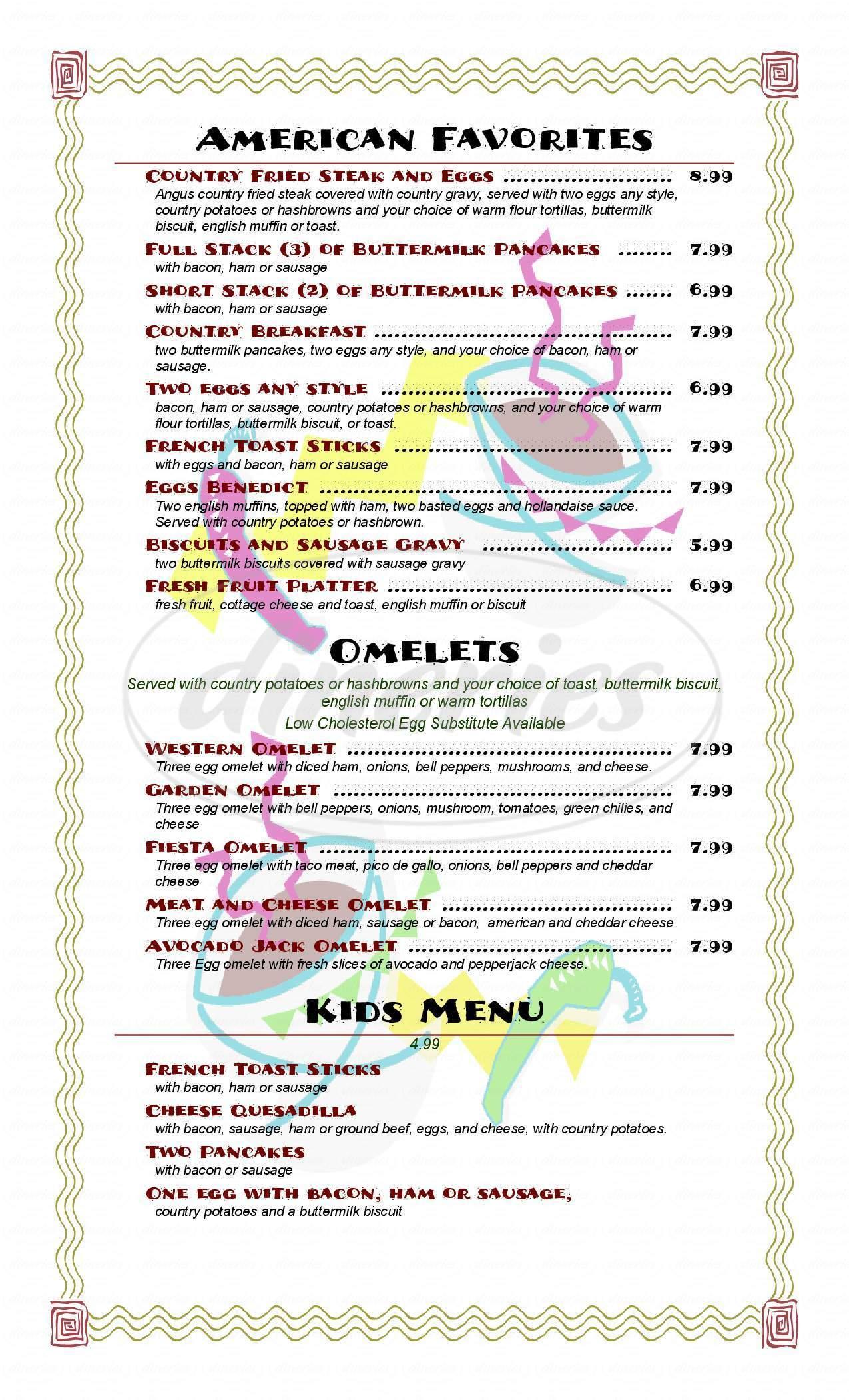 menu for El Rancho