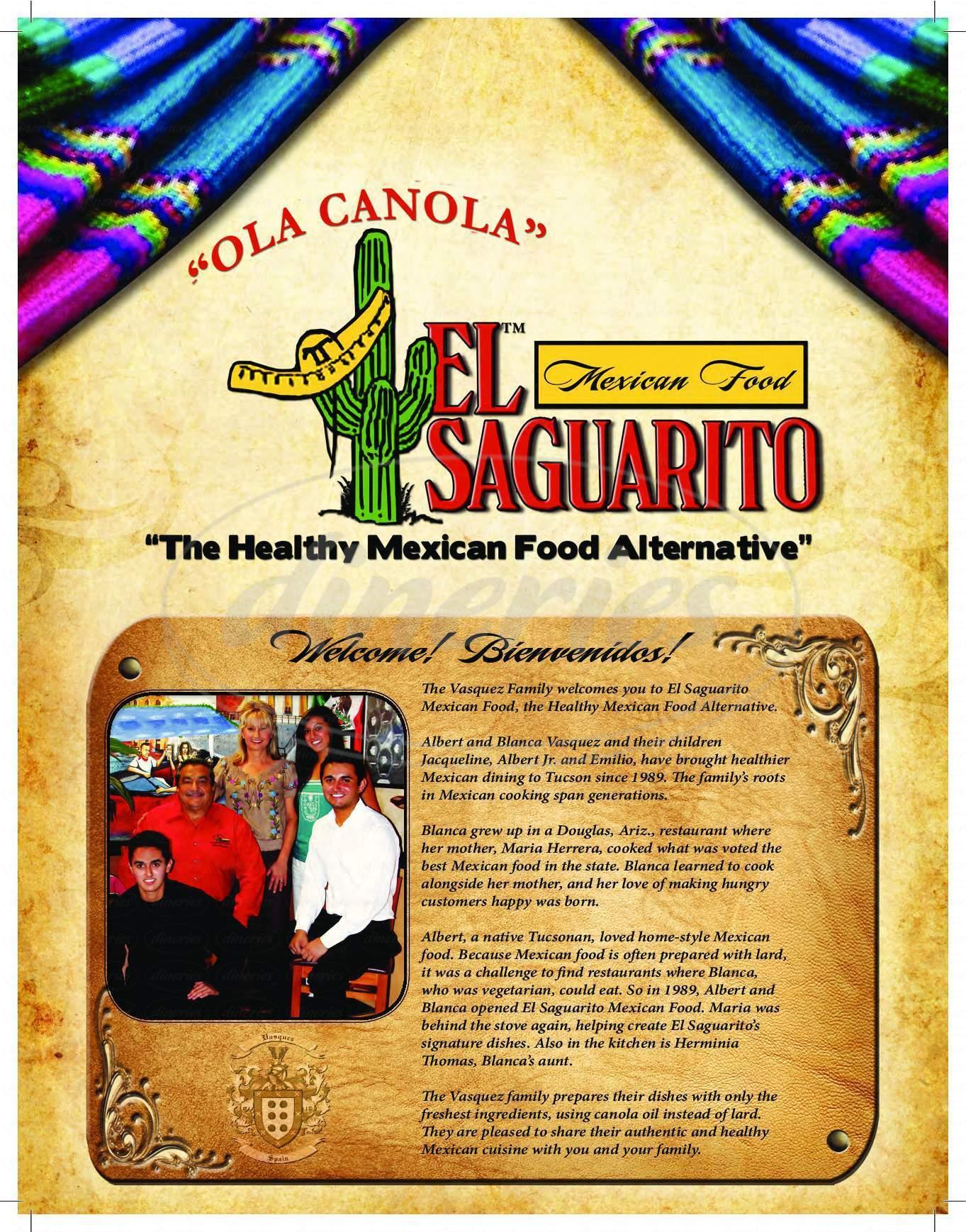 menu for El Saguarito