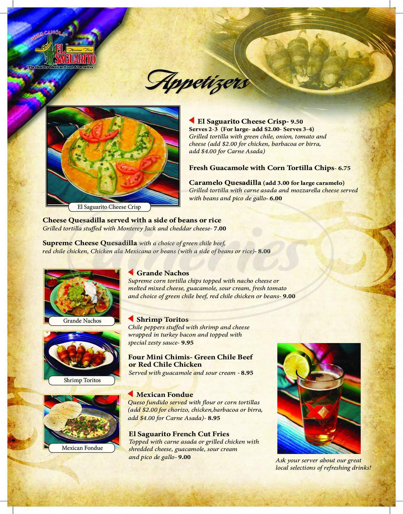 menu for El Saguarito