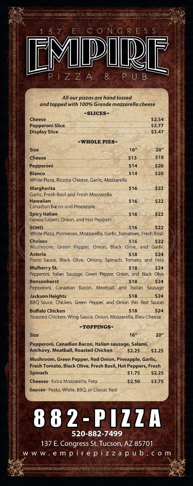 menu for Empire Pizza & Pub