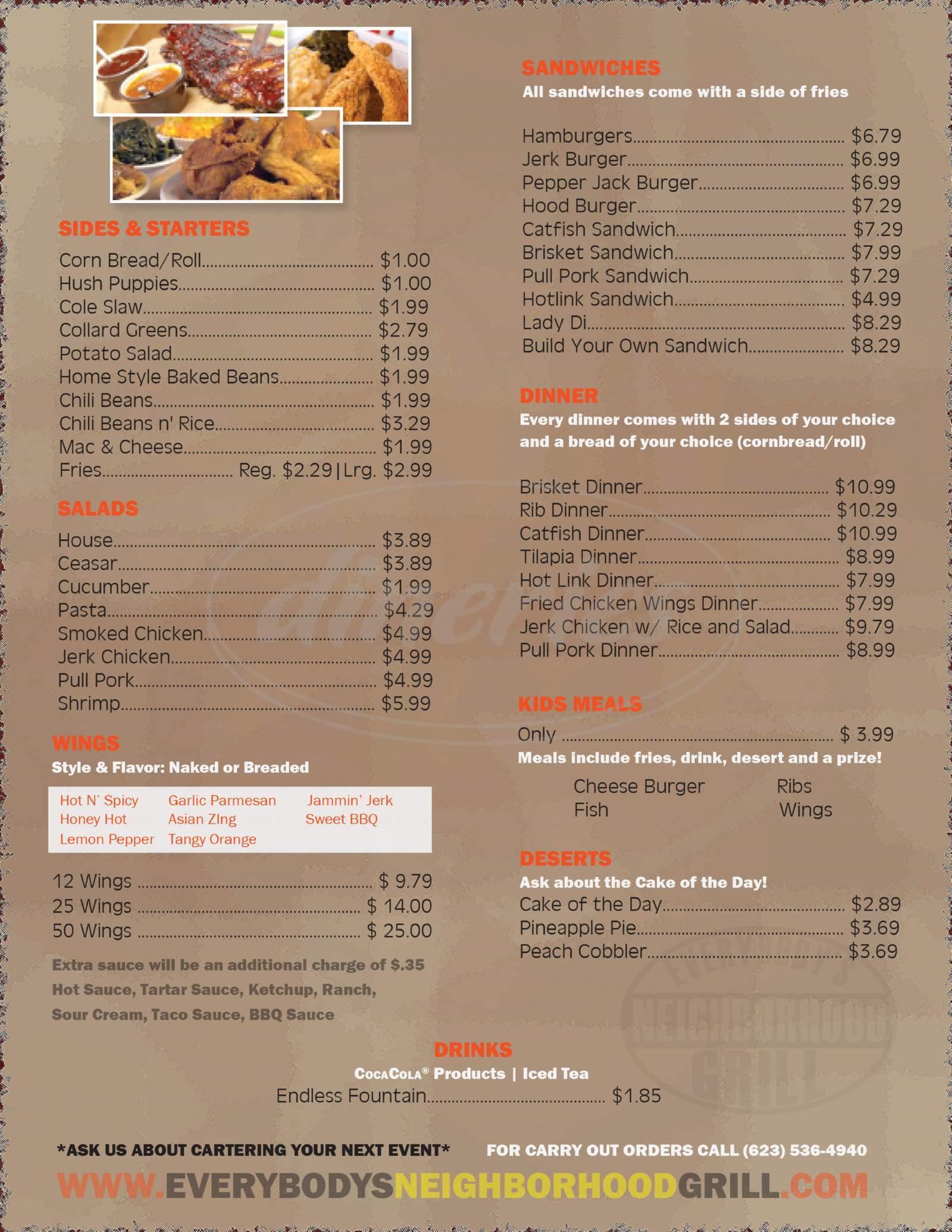 menu for Everybody's Neighborhood Grill