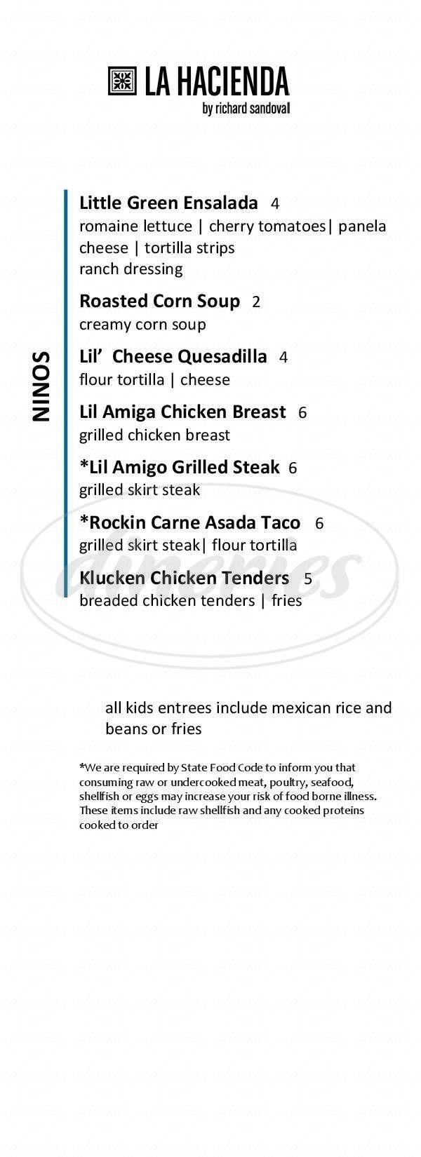 menu for La Hacienda By Richard Sandoval
