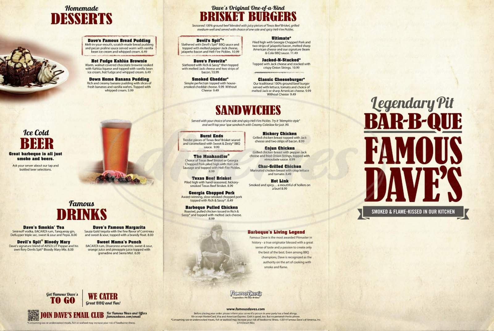 menu for Famous Dave's