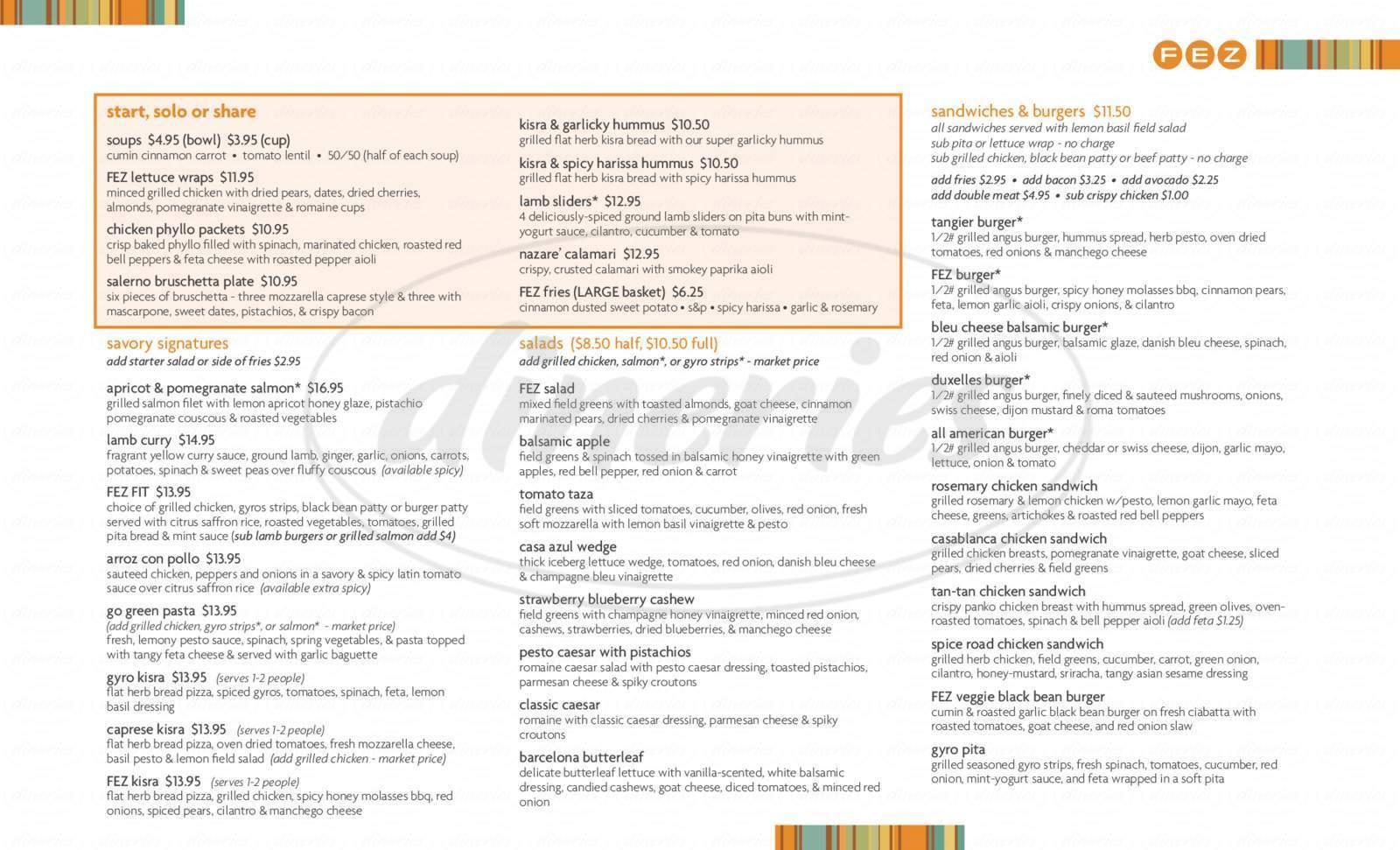menu for FEZ