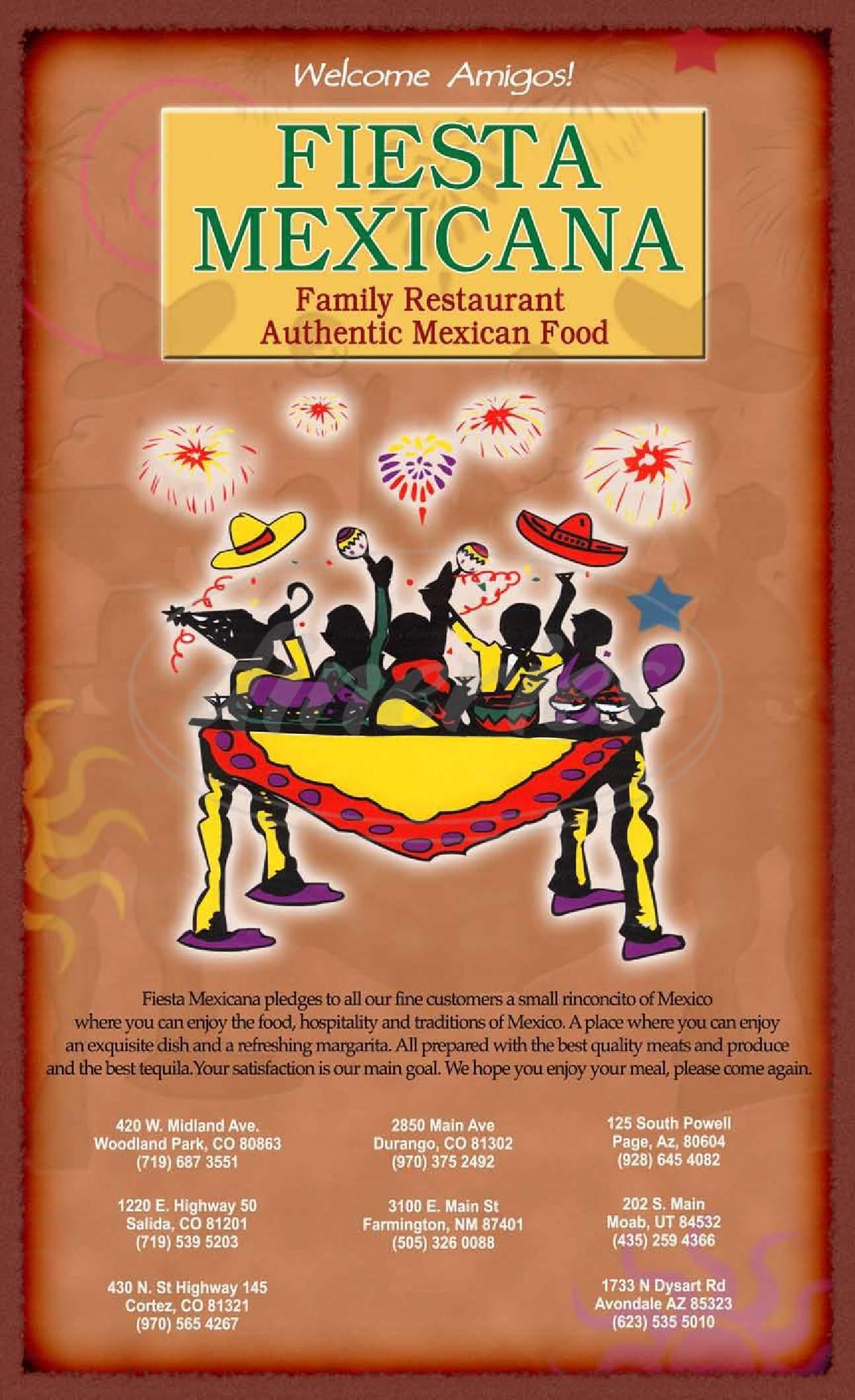 menu for Fiesta Mexicana Family
