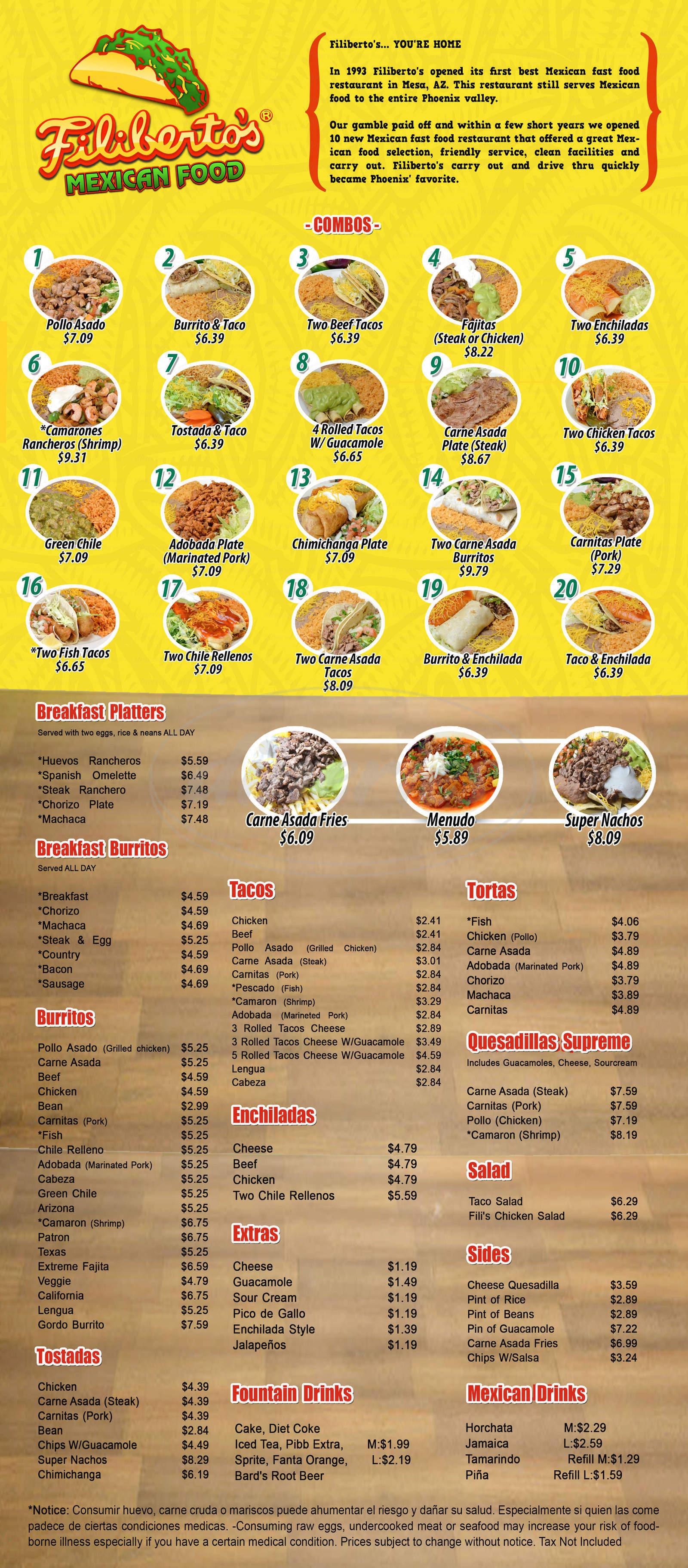 menu for Filiberto's Mexican Food