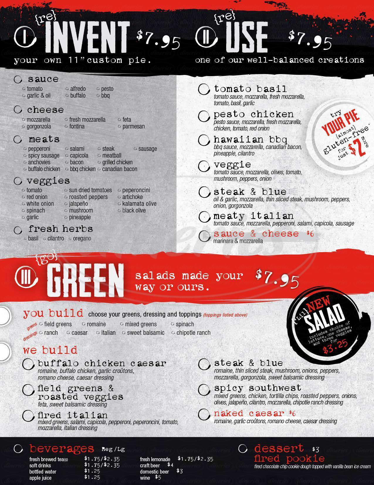 menu for Fired Pie