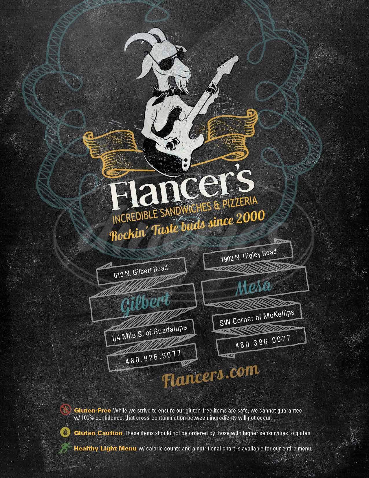 menu for Flancer's Cafe