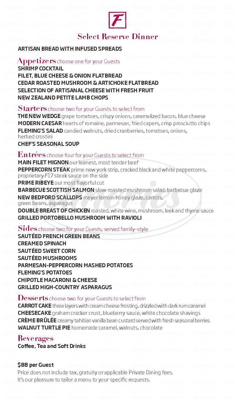 fleming's prime steakhouse & wine bar menu - peoria - dineries