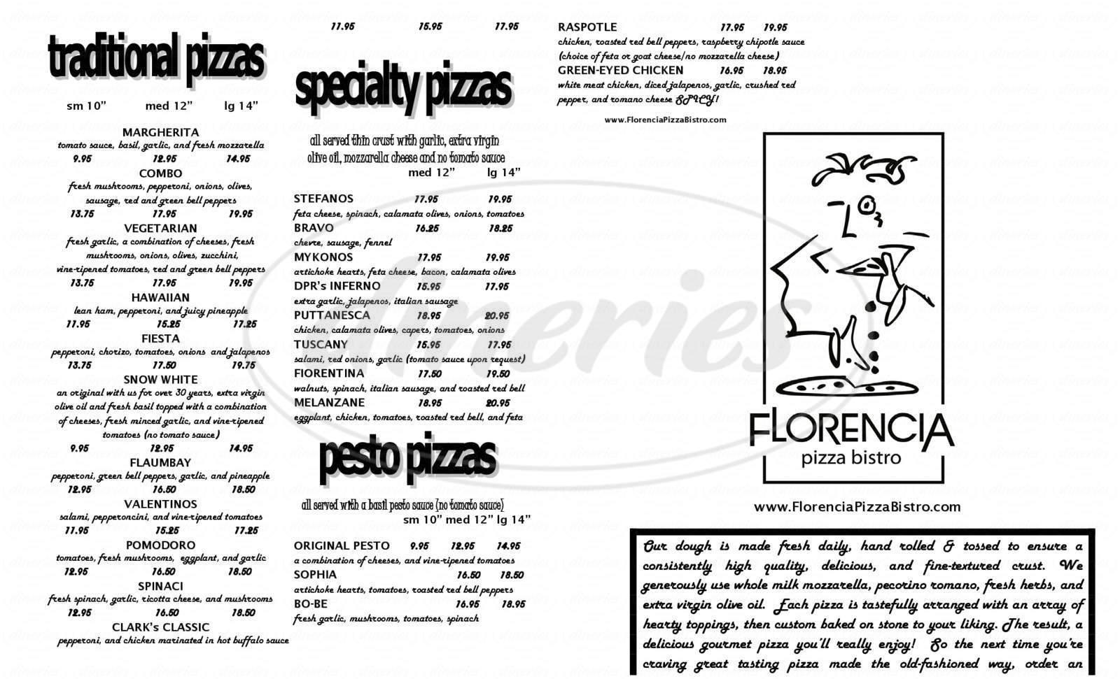 menu for Florencia Pizza Bistro