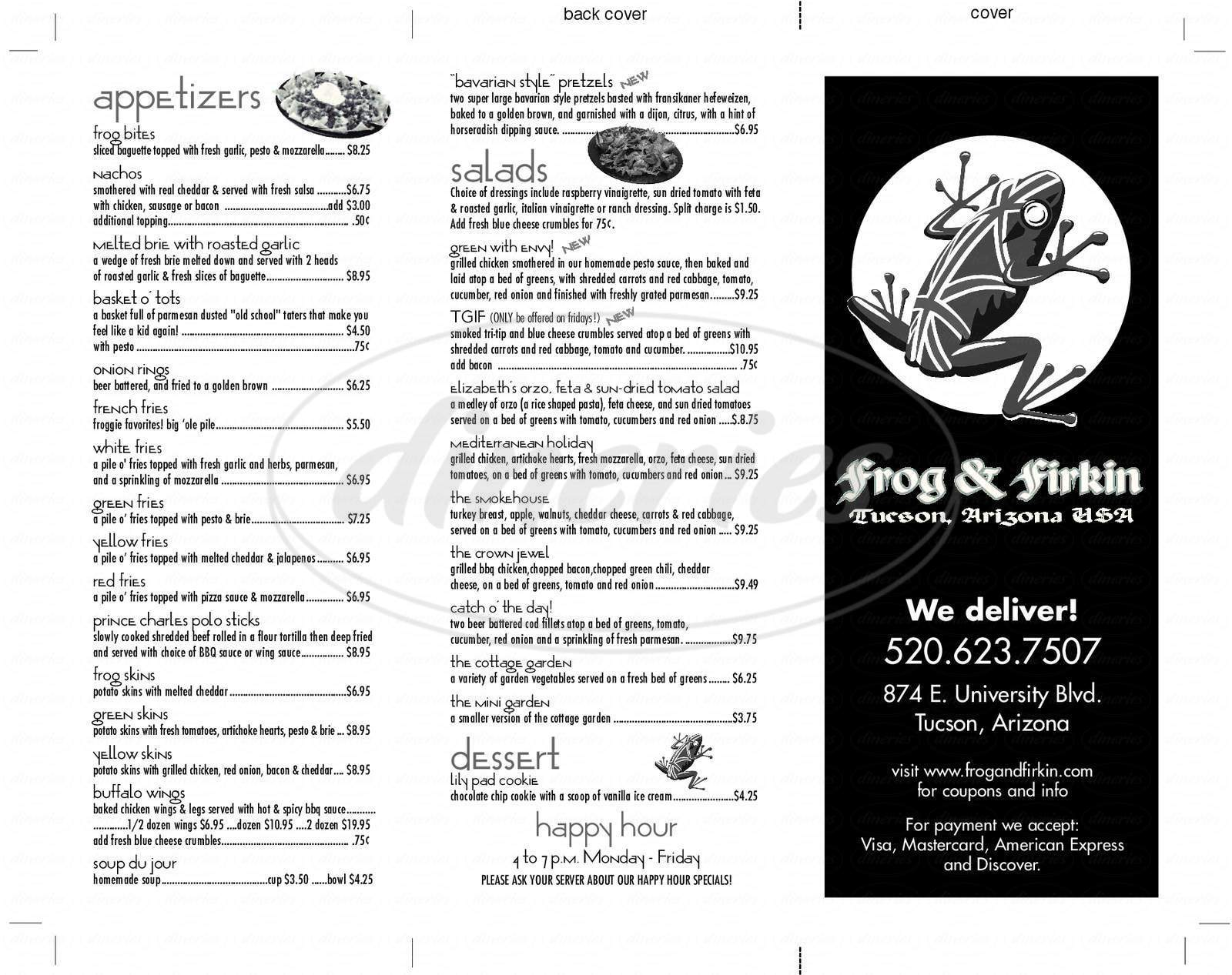 menu for Frog & Firkin