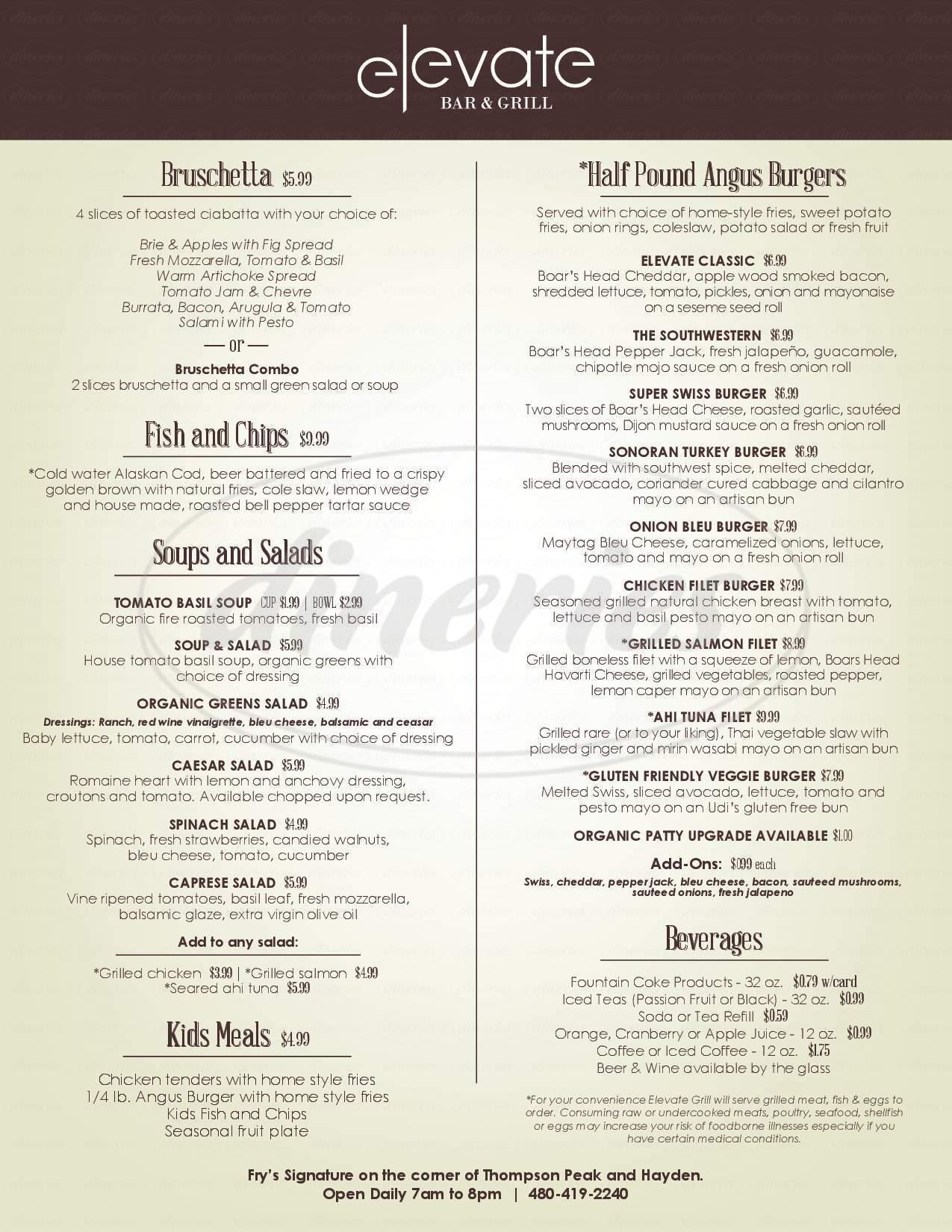 menu for Fry's