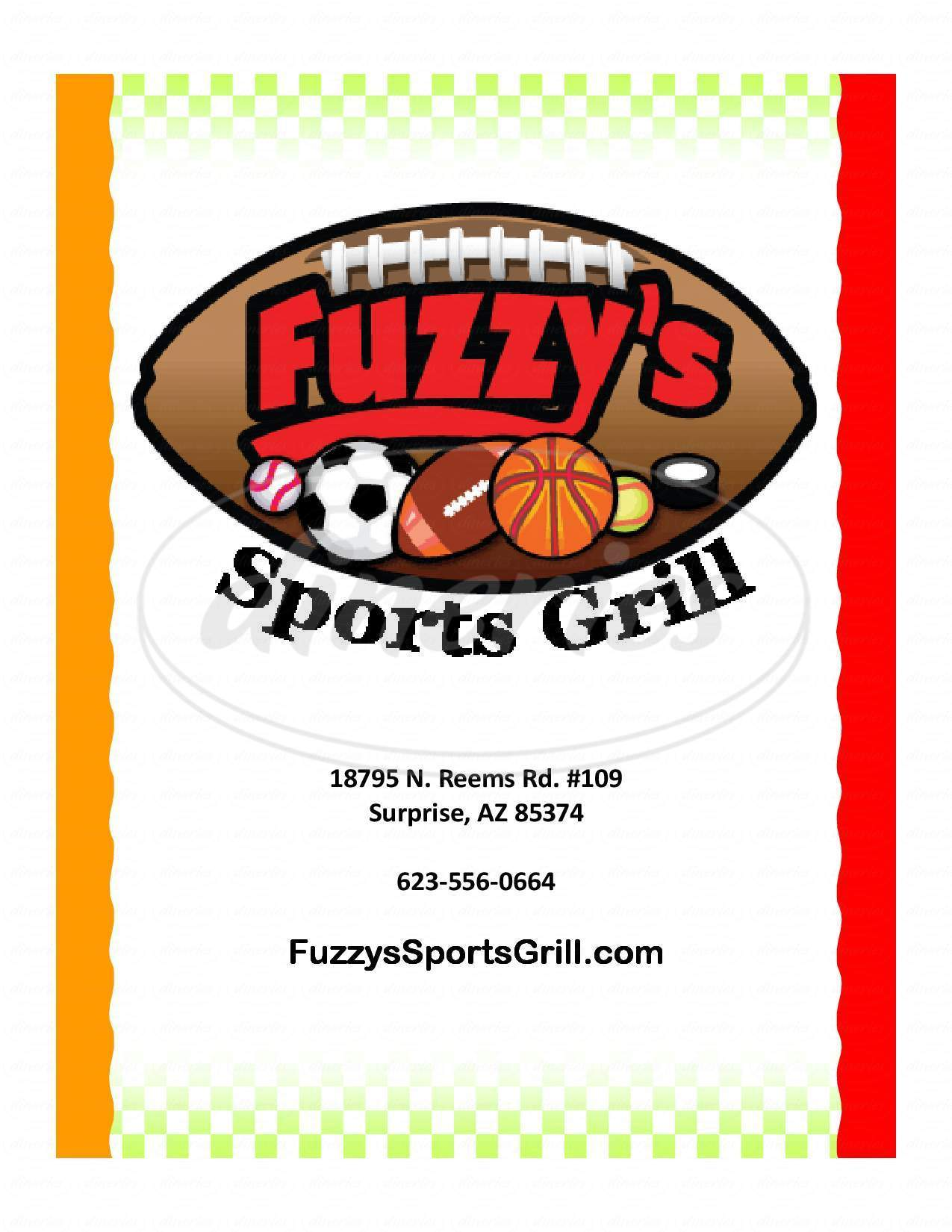 Big menu for Fuzzy's Southwest Sports Grill, Surprise