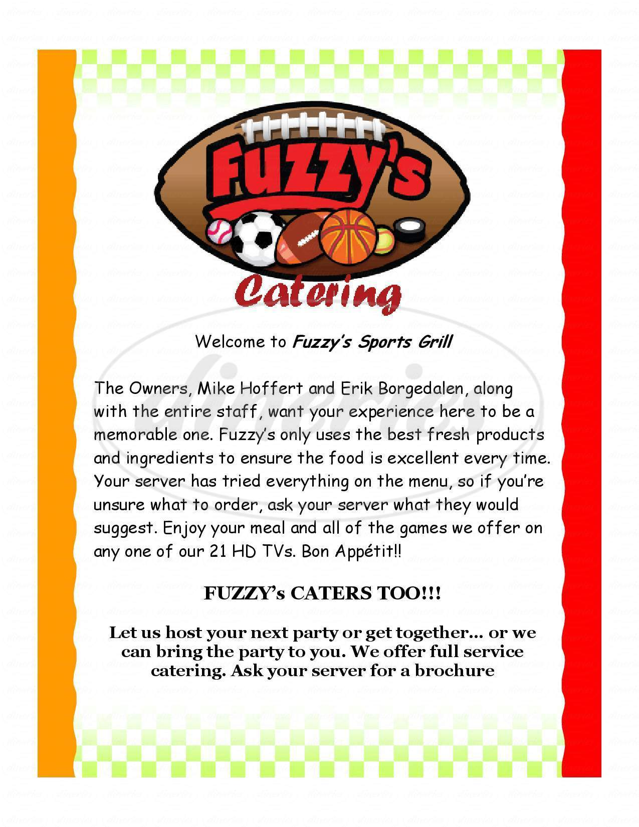 menu for Fuzzy's Southwest Sports Grill