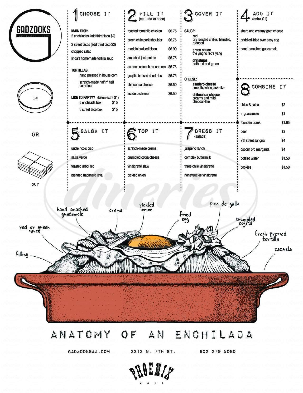 menu for Gadzooks Enchiladas & Soup