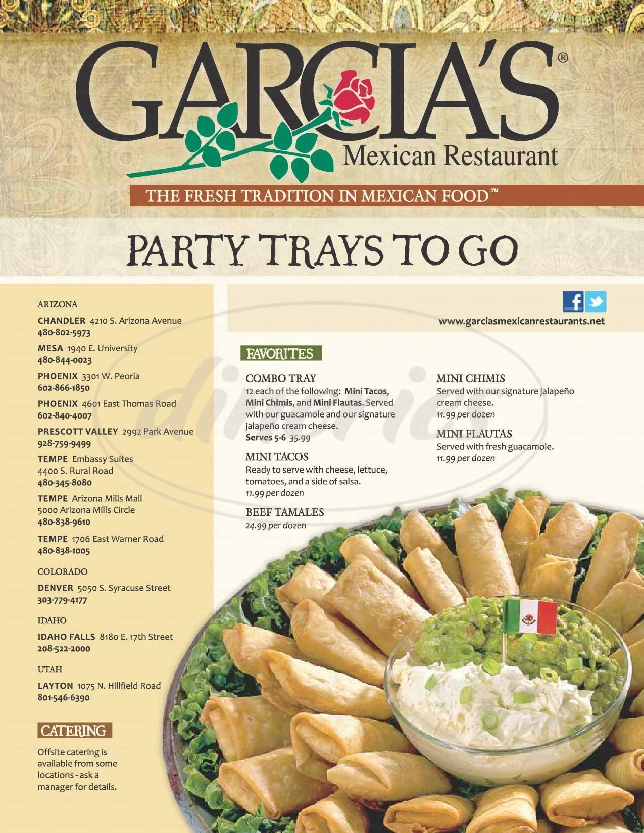 menu for Garcia's Mexican Restaurant