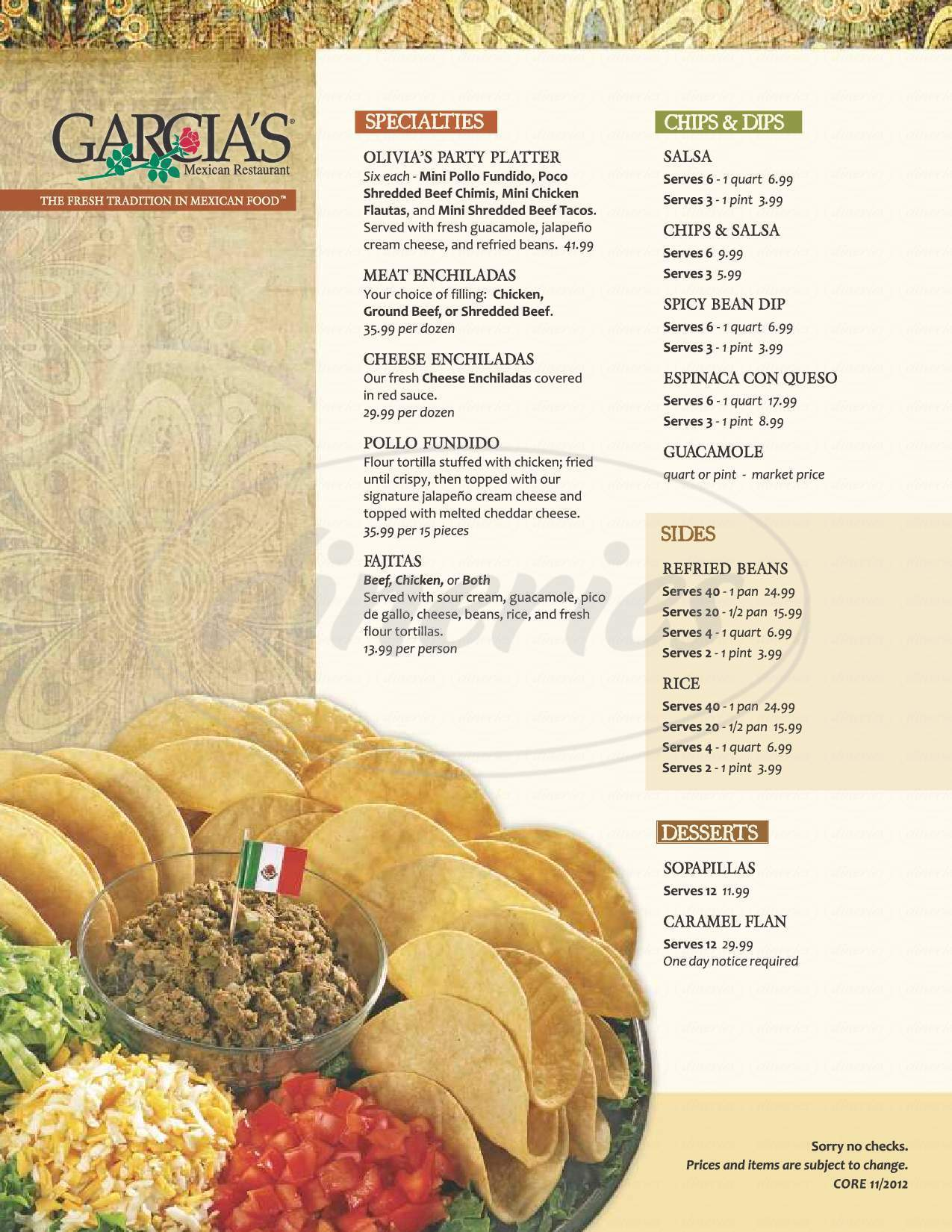 menu for Garcia's Mexican Restaurants