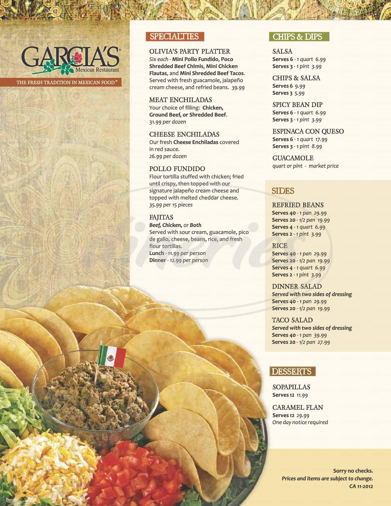 menu for Garcia's Mexican Restaurants