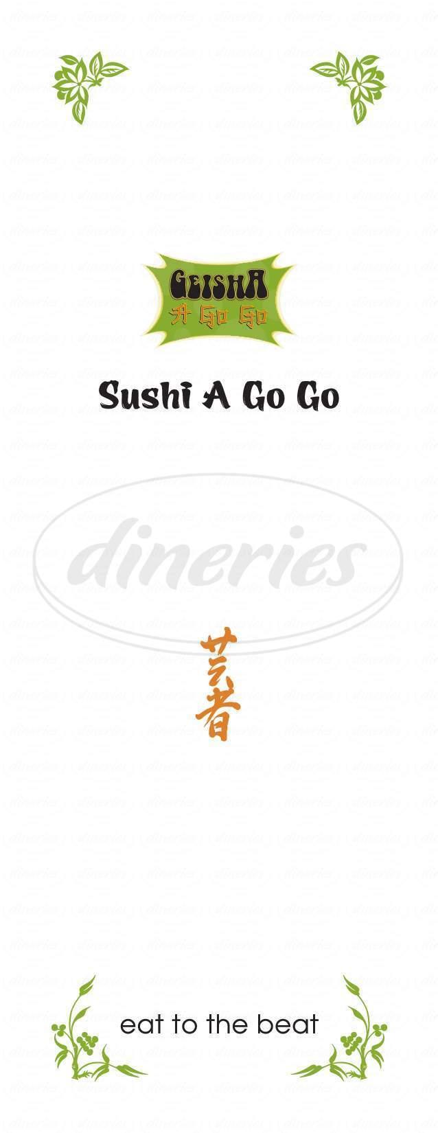 menu for Geisha A Go Go