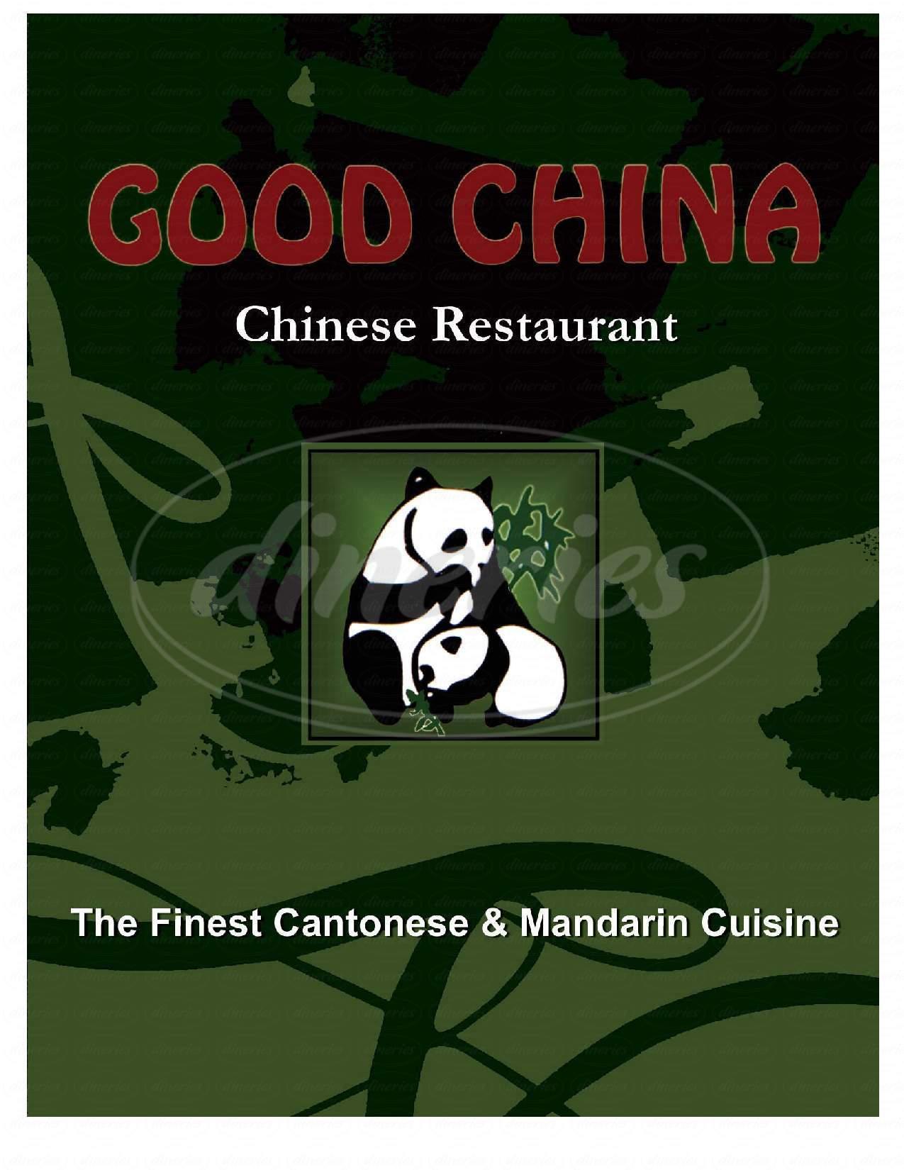 menu for Good China Restaurant